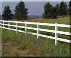 3 rail white vinyl in Greenacres, Spokane County gives a ranch country feel to your property